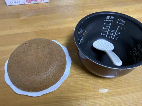 炊飯器でホットケーキを作って完成した